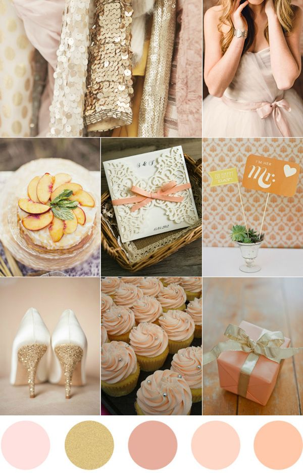 glamorous gold peach and blush pink wedding color ideas
