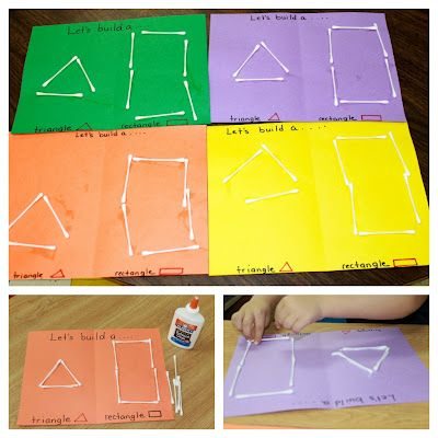building shapes with cotton swabs - a shape recognition, math/geometry and fine motor activity that's perfect for preschoolers  #preschool #shapes #learning