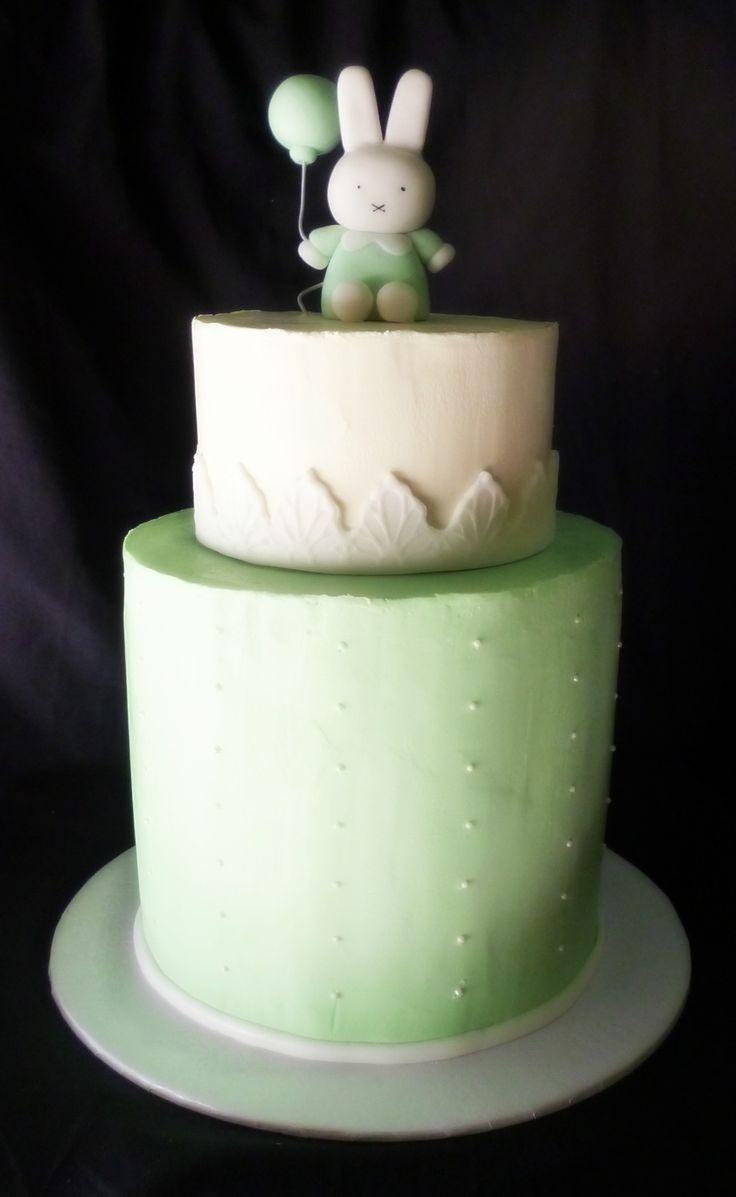 Green Miffy Baby Shower Cake,