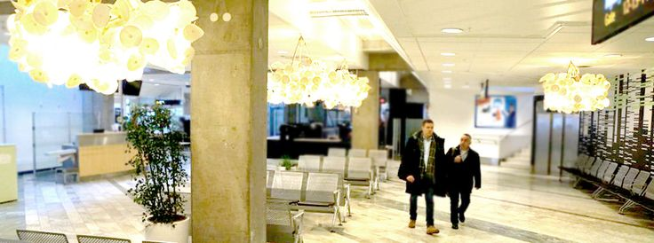 Green Furniture Sweden- Nova C & Leaf lamps pendant at Landvetter Airport, Göteborg Sweden  #greenfurnituresweden #greenfurniture #ecofurniture #ecodesign #novac #leaflamp #landvetter #goteborgairport