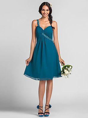 Lanting+Bride®+Tot+de+knie+Chiffon+Bruidsmeisjesjurk+A-lijn+/+Prinses+Eén-schouder+Grote+maten+/+Petite+metKralen+/+Drapering+/+–+EUR+€+220.50