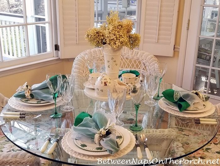 St. Patrick's Day Table with Limelight Hydrangeas & Belleek Pottery Centerpiece