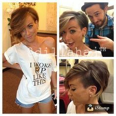 I'm over the pixie trend. Had one for a long time. But I would do this longer asymmetrical and shaved side cut!