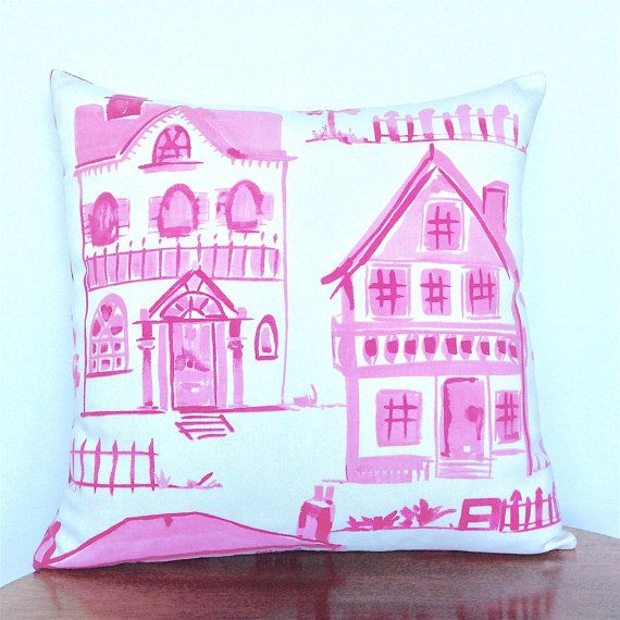 Pink Throw Pillow. Villa Scenes  Picket Fences. by OnHighat5