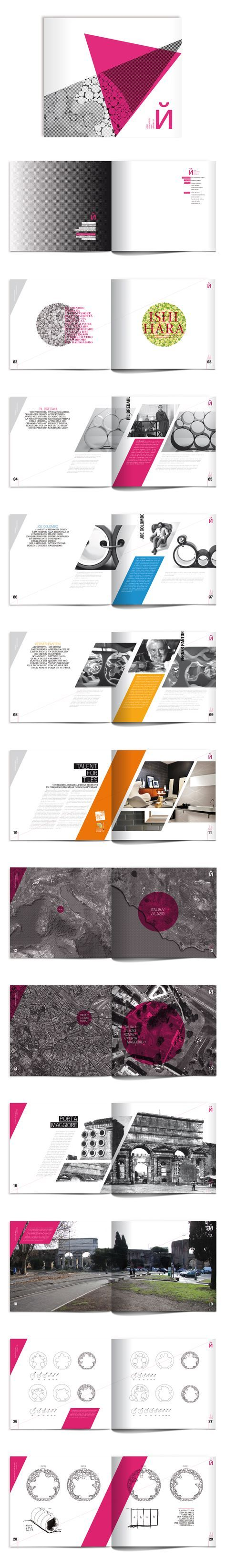 Brochure Layout. Bold colors and diagonals.