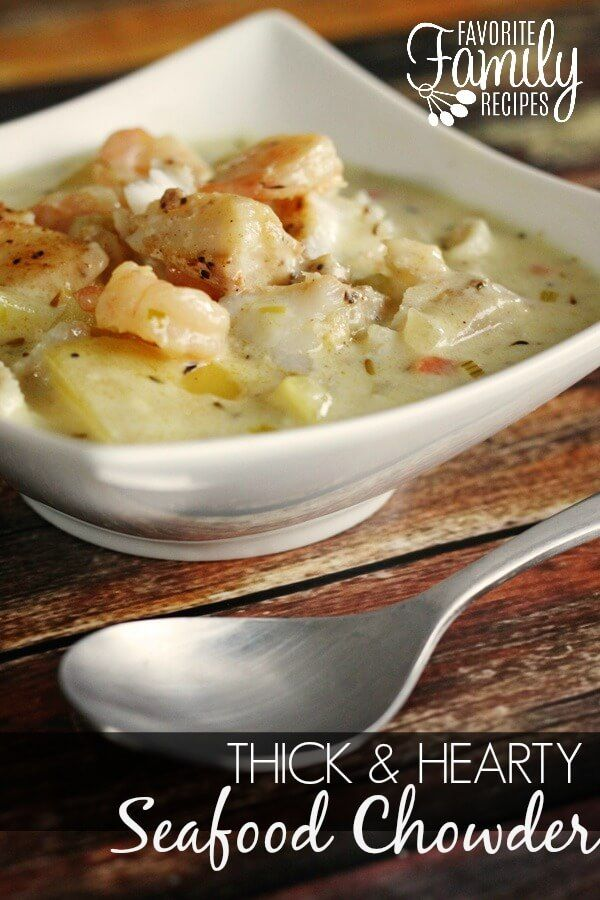 This is hands down the best seafood chowder recipe ever. It is thick, creamy, & full of flavor. So easy to make substitutions with whatever you have on hand