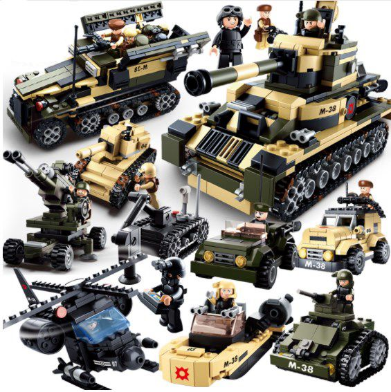Building Blocks Military 8 in 1 Tank Army Soldiers Minifigure Toys Set 928 pcs