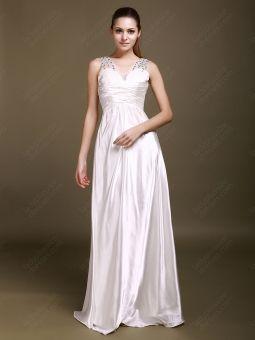 A-line V-neck Satin Floor-length White Beading Prom Dress