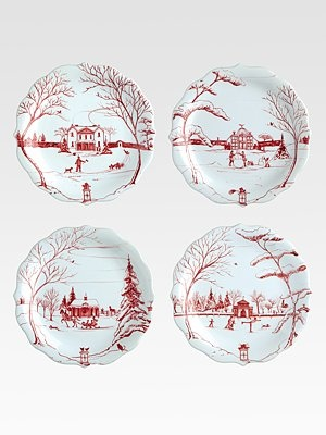Juliska Country Estate Holiday Party Plates, Set Of 4..so addicted to Christmas china.