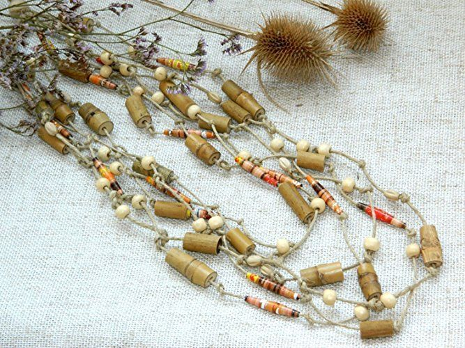 Rustic Bamboo bead necklace Tribal necklace ethnic necklace African Kenya Paper mache upcycled Eco friendly Beach wedding jewelry Boho necklace Rustic jewelry tribal jewelry