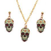 Sugar Skull Jewelry Set Skull Earrings Necklace Mexican Day of the Dead Cross on Skull, SS3PA