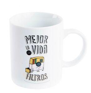 "Taza porcelana con frase mejor la vida sin filtros - Taza de porcelana, cuyo frase es ""mejor la vida sin filtros"""