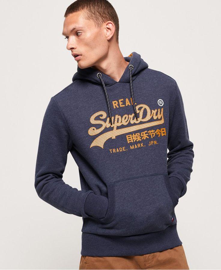 Superdry Princeton Blue Marl Vintage Logo Racer Hoodie 2019 Edition Hoodies Mens Sweatshirts Hoodie Hoodies Men