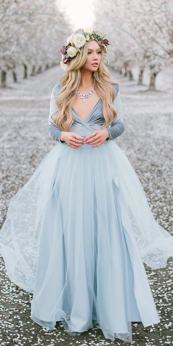 18 Dreamy Blue Wedding Dresses To Inspire Wedding Dresses Guide Blue Wedding Dresses Simple Prom Dress Prom Dresses Long With Sleeves