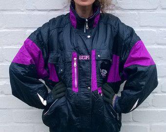 Chaqueta de esquí retro negro/morado, chaqueta vintage hombre/mujer, años 90 chaqueta, chaqueta al aire libre, Cazadora, traje retro ski M/L (GP104)