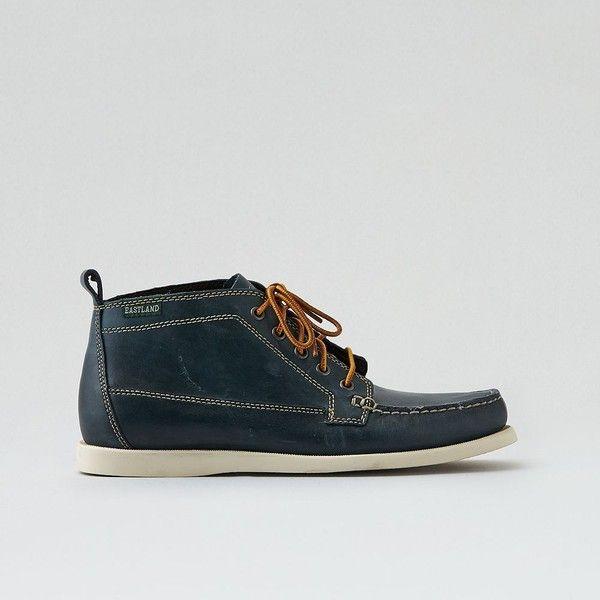 Eastland Seneca Chukka Boot ($110) ❤ liked on Polyvore featuring men's fashion, men's shoes, men's boots, blue, mens shoes chukka boots, mens leather boots, mens chukka boots, mens blue shoes and mens leather chukka boots