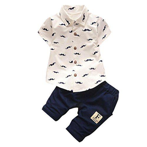 Bébé Garçons Barbe T-Shirt Tops  Pantalons Courts Pantalons Famille Vêtements de Mode (3-6Mois Blanc)