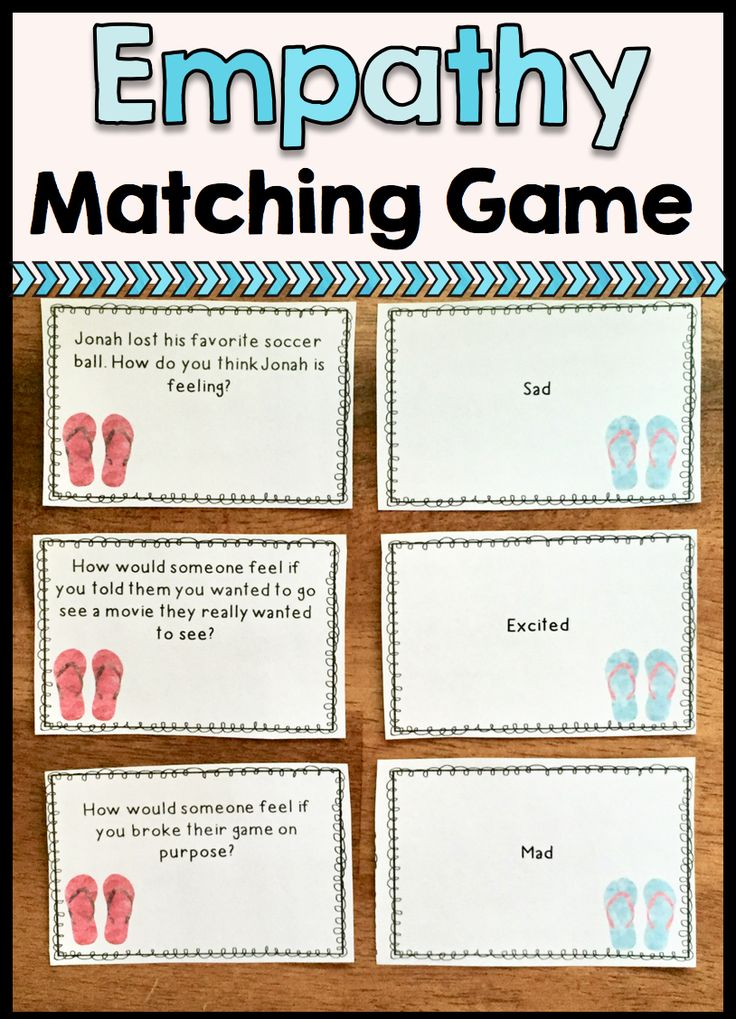 Includes 2 sets of 32 cards to help students match empathy scenarios to corresponding feelings. Students will use empathy to decide how others are feeling and how their own actions affect the feelings of others! Each set covers the same 16 feelings: happy, mad, sad, proud, embarrassed, frustrated, disappointed, surprised, silly, excited, scared, nervous, hurt, tired, bored and lonely.
