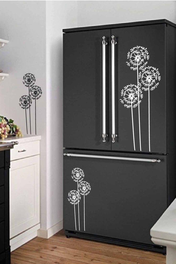 Dandelion Fridge Decals Fridge Door Vinyl Sticker Covering Etsy Fridge Decor Refrigerator Makeover Diy Interior Decor