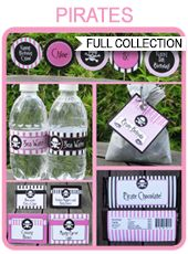 Pirate Party Printables, Invitations & Decorations – pink girl