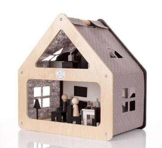zabawki - klocki i zabawki drewniane-Drewniany domek dla lalek NOWOŚĆ!