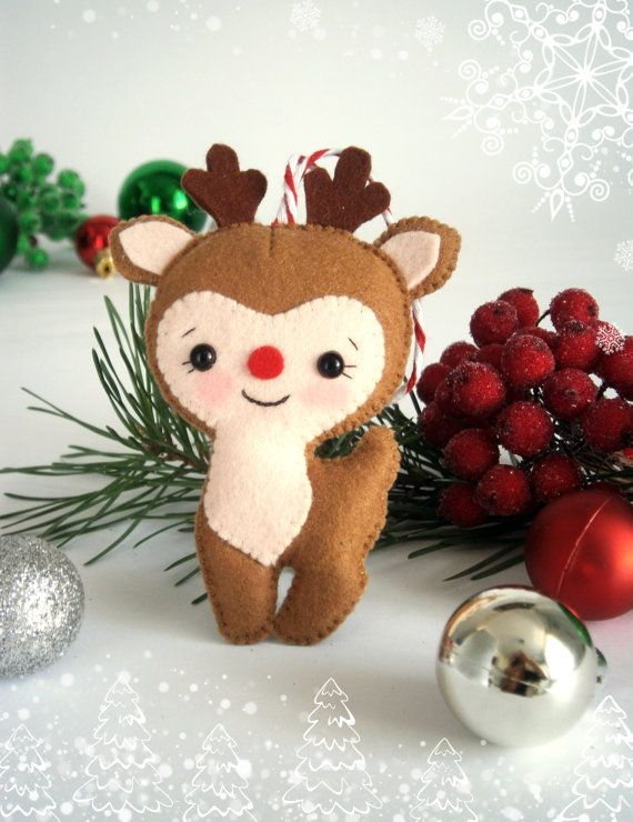 Christmas ornaments felt Reindeer Christmas tree ornament Rudolph the red nose…