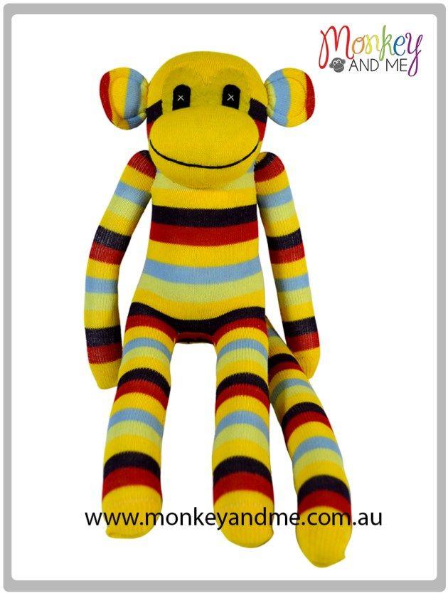 Yellow Black Red Blue Sock Monkey  Adopt over at monkeyandme.com.au #sockmonkeys #gifts #toys