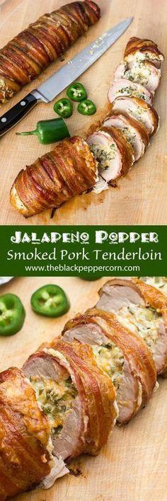 Jalapeño Popper Stuffed Smoked Pork Tenderloin Wrapped in Bacon