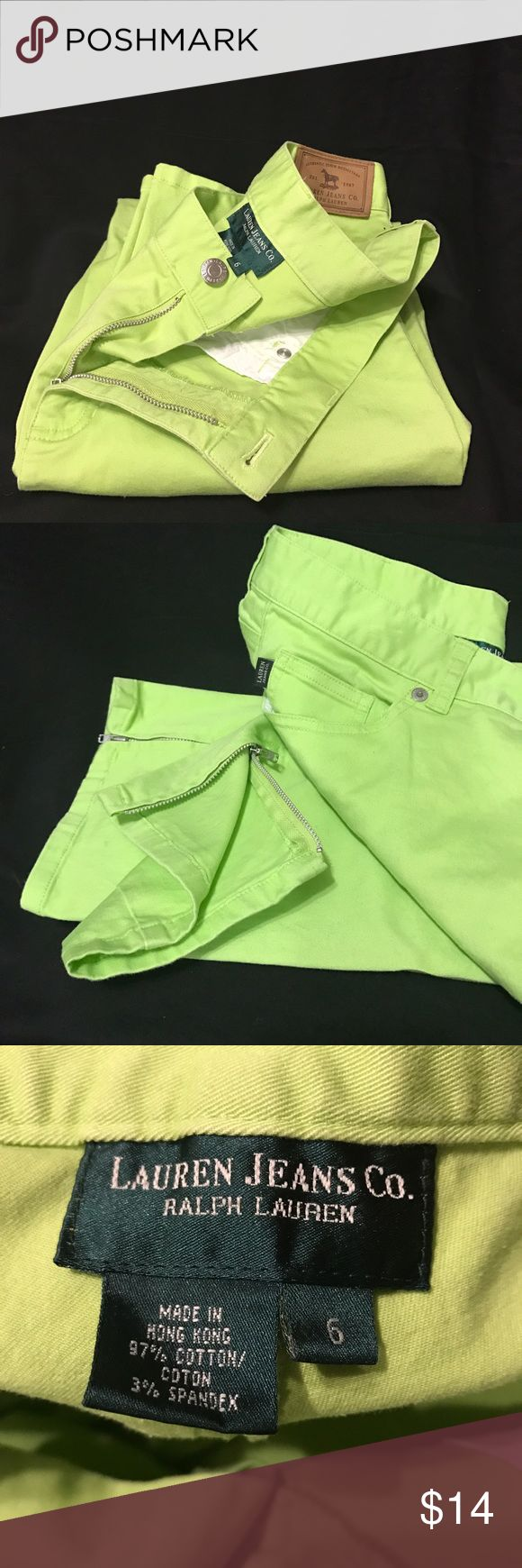 Ralph Lauren Lime Green Pants Size 6 Lime Green Crop pants with zipper leg Lauren Jeans Company Ralph Lauren  Pants Capris