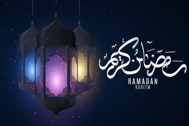 Cover For Ramadan Kareem Hanging Multicolored Glowing Lanterns With Islamic Ornament On A Dark Background Eid Mubarak Hand Drawn Arabic Calligraphy Ramadan Kareem Ramadan Eid Background