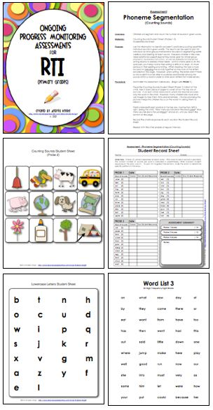 This 56-page download includes teacher directions, student probes, and recording sheets for early primary children.  Monitor letter identification, letter sounds, rhyming, segmenting, blending, and more.  $