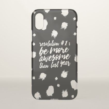 New year resolution funny typography brushstrokes iPhone x case - girly gifts special unique gift idea custom