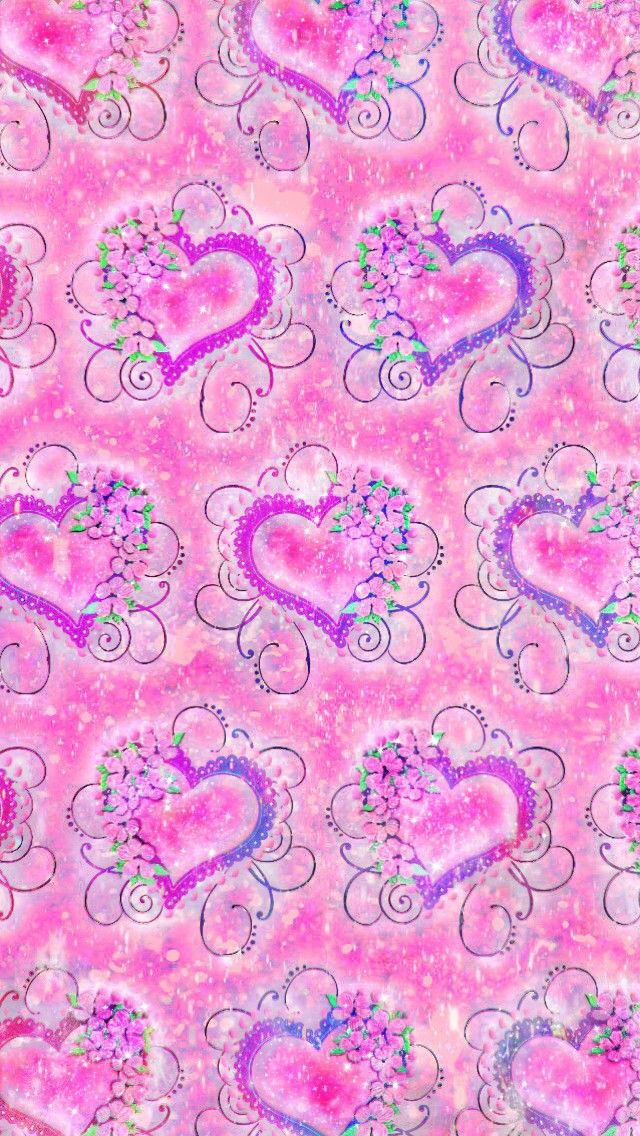Vintage Girly Hearts Made By Me Patterns Hearts Art Cute Wallpapers Backgrounds Sparkles Glittery Galaxy Pink Girly Heart Wallpaper Cute Wallpapers