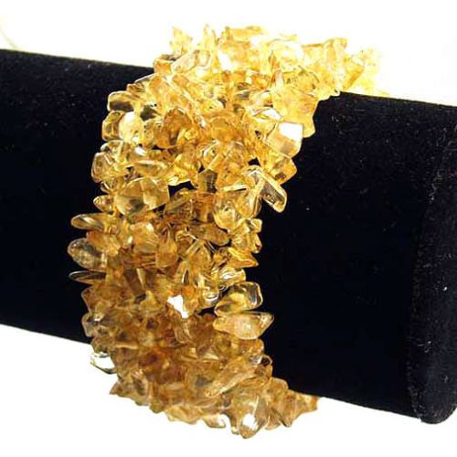 Citrine Wide Style Chipped Gemstone Bracelet