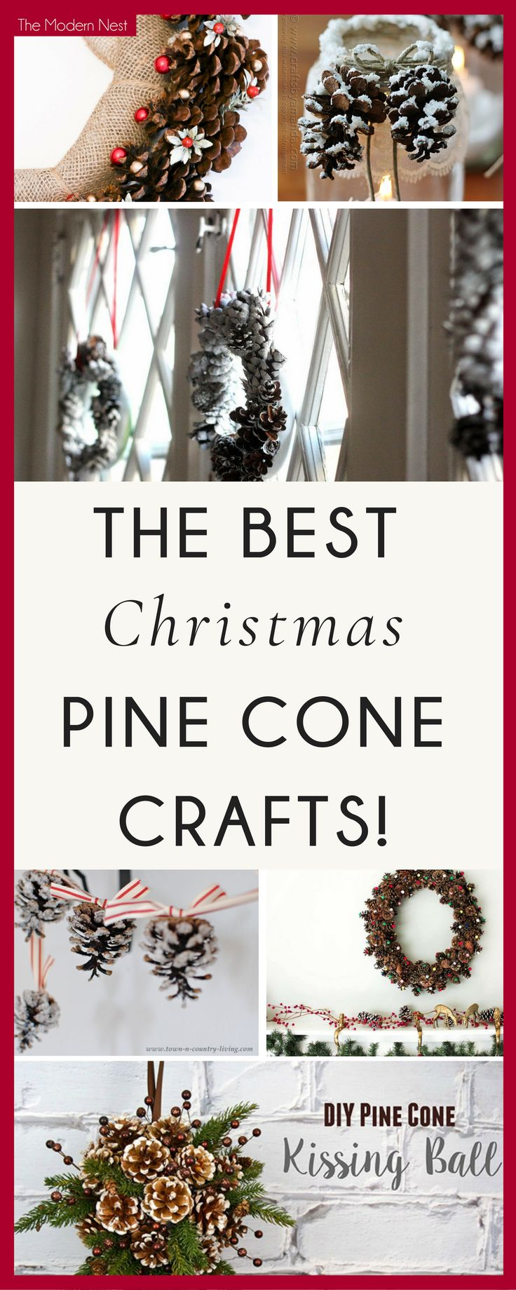 Looking for fun crafts to do for Christmas? Check out this collection of over 25 of the best Christmas pine cone crafts for inspiration! You can see all the Christmas craft ideas at https://www.themodernnestblog.com/archives/2174 #ChristmasDecor #christmascrafts #christmastime #christmasdiy #pinecones