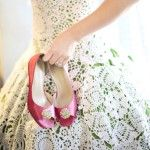 crocheted wedding dress,made by the bride !