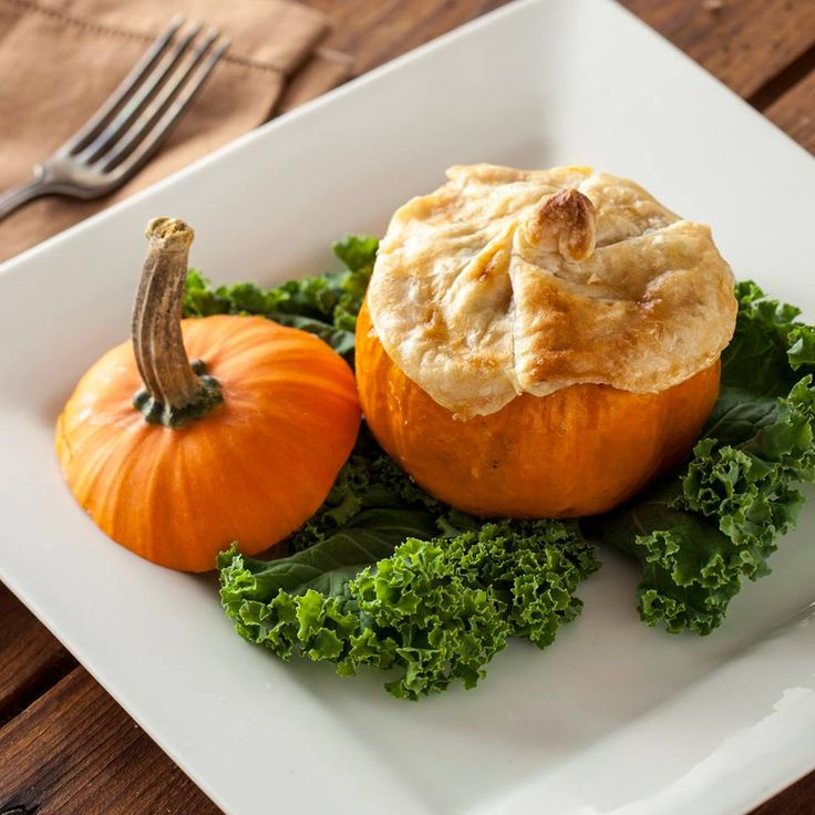 A fun idea for fall from our Cooking School - Chicken Pot Pie served in a Sugar Pumpkin with a Flakey Puff Pastry Crust... yum! Perfect for a dinner party. Use your favorite pot pie recipe in a pumpkin shell that has been baked to soften. Top with puff pastry, brown and enjoy!