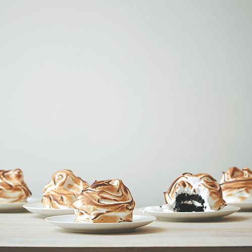 Individual Baked Alaskas with Vanilla and Coffee Ice Cream