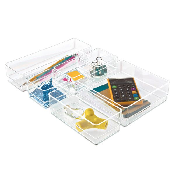 Our set of six Acrylic Drawer Organizers is an easy and stylish way to organize pens, pencils, notepads, scissors, and other desktop essentials.  This cleverly designed, modular set efficiently divides and conquers desk drawer clutter.  Use them together or separately for sorting small items on top of a desk or counter.