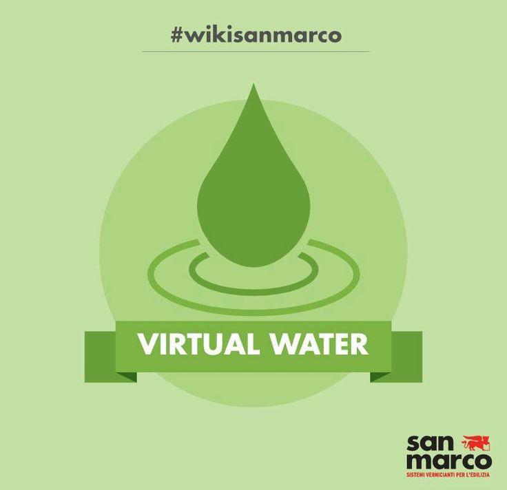 """Il concetto di Virtual Water (acqua virtuale) si riferisce al volume d'acqua necessario per produrre una merce o un servizio. Strettamente correlato è il concetto di impronta idrica (Water Footprint), con cui calcolare il contenuto d'acqua di un prodotto con un modello analogo a quello dell'impronta ecologica, utilizzato per indicare il """"consumo"""" di risorse terriere. #wikisanmarco #VirtualWater"""