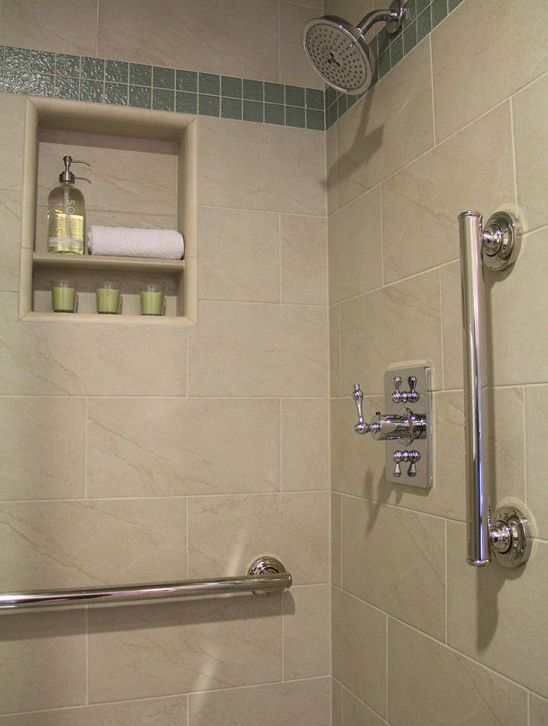 Examples of how you add grab bars to a shower or tub and have them be both functional and aesthetic
