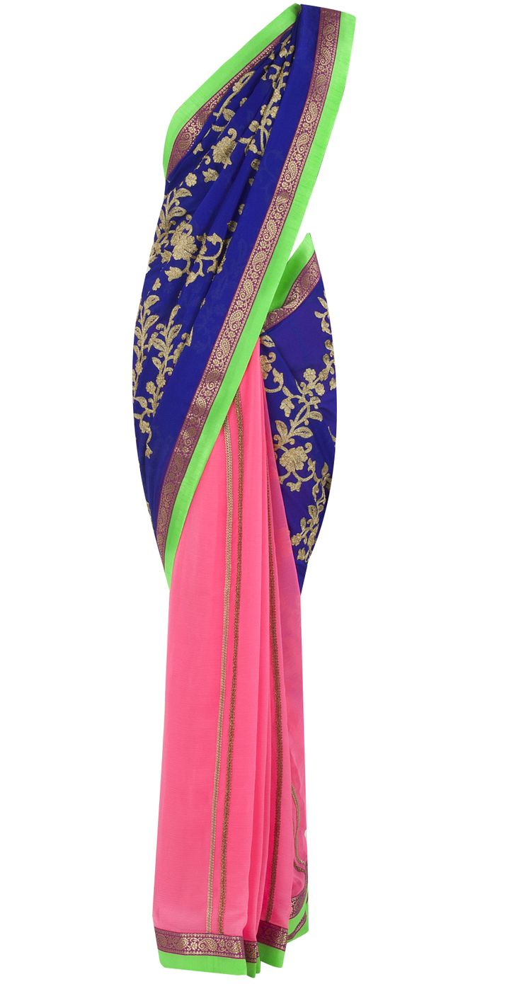 Electric blue and neon pink patched sari by OHAILA KHAN. Shop at http://www.perniaspopupshop.com/whats-new/ohaila-khan-5969
