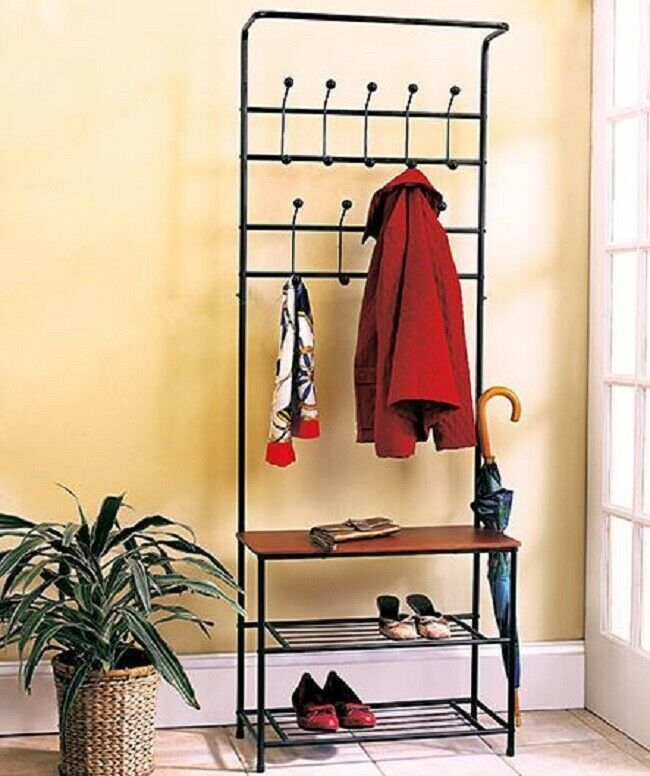 Entryway Coat Rack Hall Bench Seat Shoe Storage Shelves Umbrella Hat Hanger Dorm Entryway Bench Storage Entryway Storage Hall Tree Storage Bench