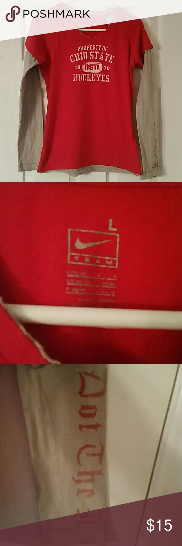 """NIKE OHIO STATE Layered Tee Nike OSU ladies/juniors long sleeve fitted t-shirt. Soooo adorable on..ive just outgrown it.  :( Has a vintage look to it and sleeves say """"Dot the I"""" SUPER CUTE. Ready for gameday..coming soon! Nike Tops Tees - Long Sleeve"""