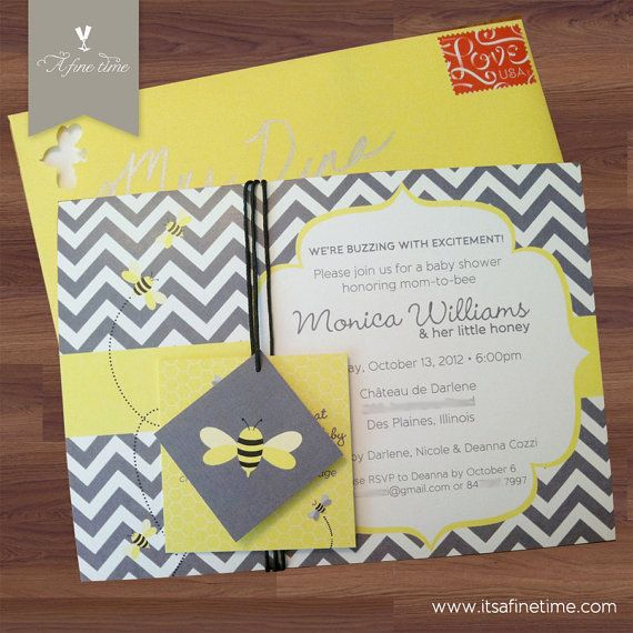 Baby Shower Invitation Suite With Tags   Honey Bee, Bumble Bee   Chevron    Sunshine