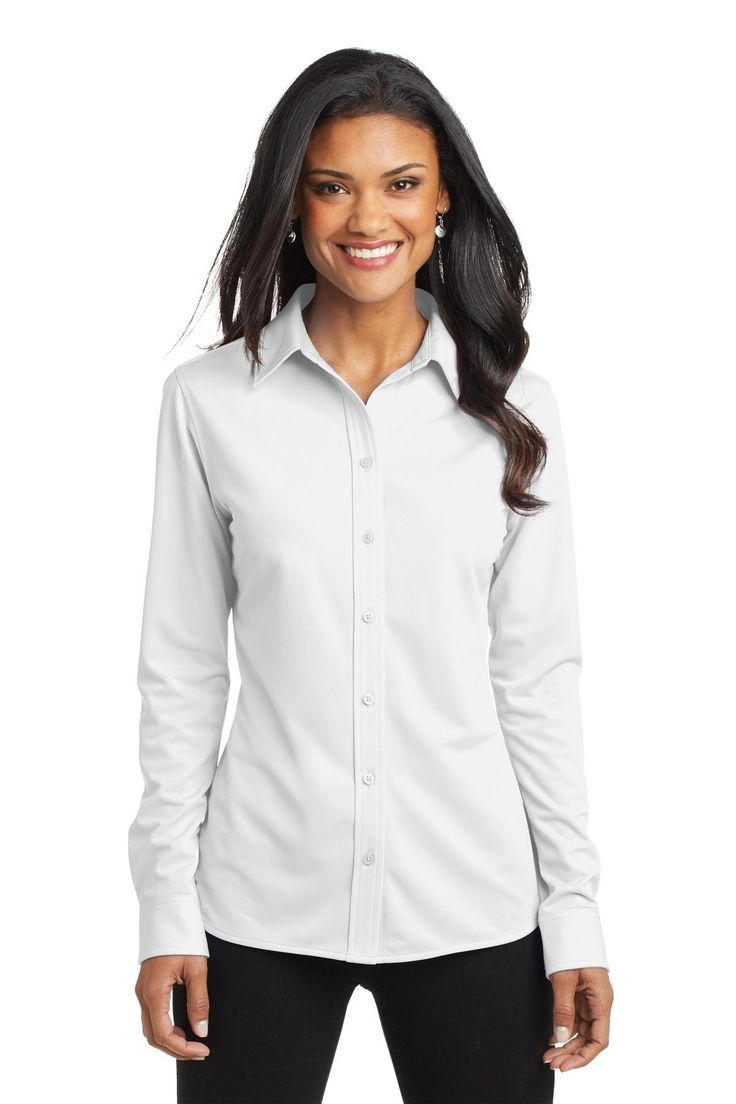 Port Authority Ladies Dimension Knit Dress Shirt. L570 White
