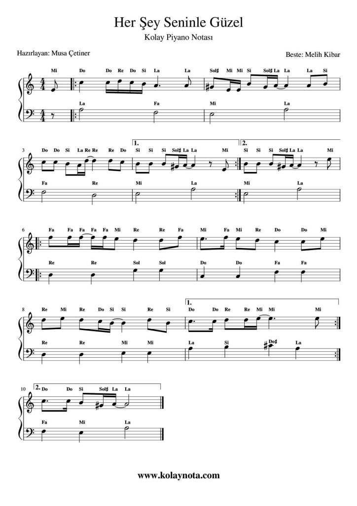 Her Sey Seninle Guzel Kolay Piyano Notasi Kolaynota Com Nota Arsivi Piyano Notalara Dokulmus Muzik Muzik Notalari