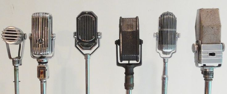 Antique Microphones. A collection of 6 swivel head antique microphones circa 1930's -1940's. All but one is chrome plated. These we bought from the estate of an ex-radio personality who collected them.