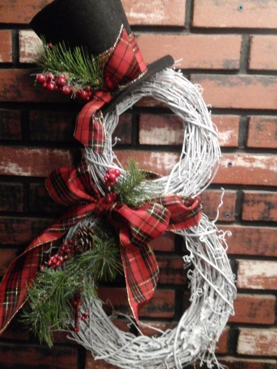 Grapevine Snowman Wreath by oldelangfarms on Etsy