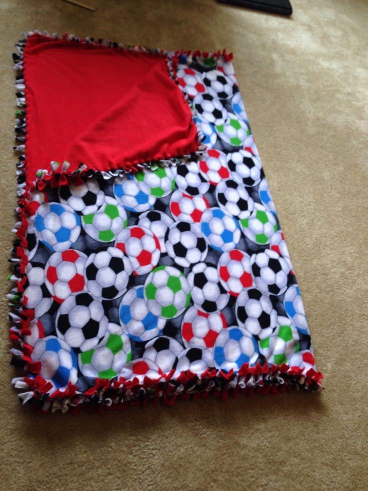 Soccer hand made fleece tie blanket Fleece tie blankets